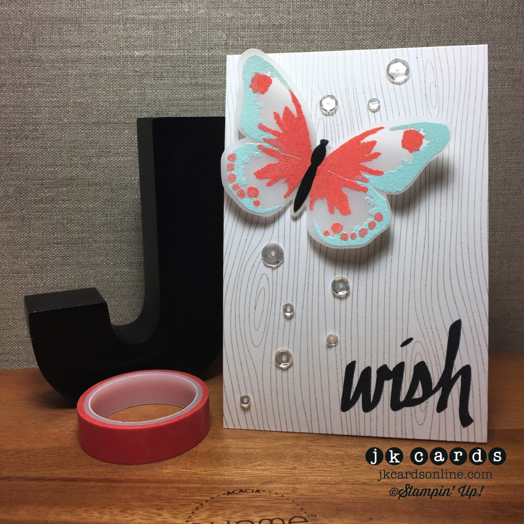 Woodgrain Vellum Embossed Butterfly Wish-WM