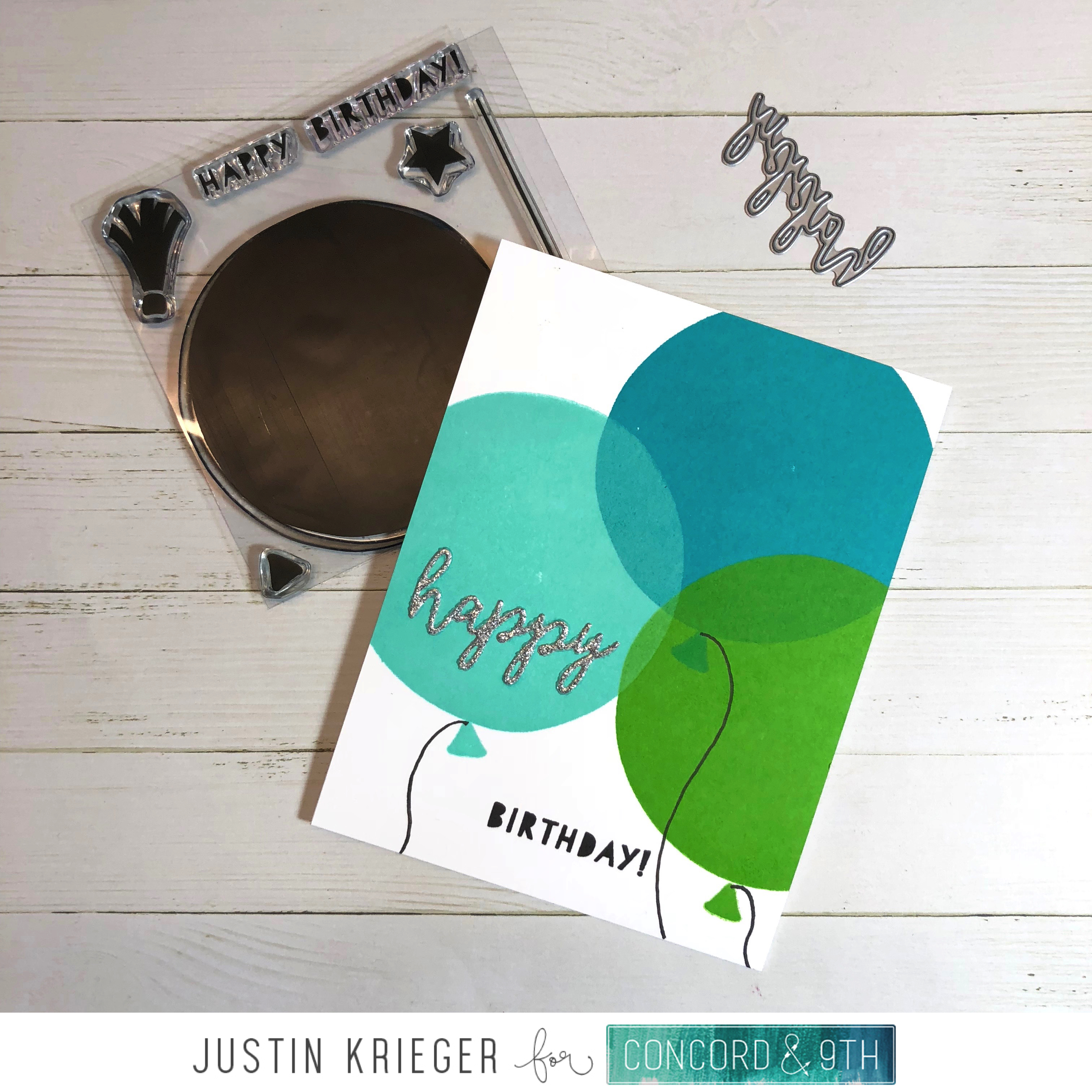 A Quick Simple And Fun Birthday Card I Love The Way That Light Blue Balloon Looks Like Its On Top Of All Others